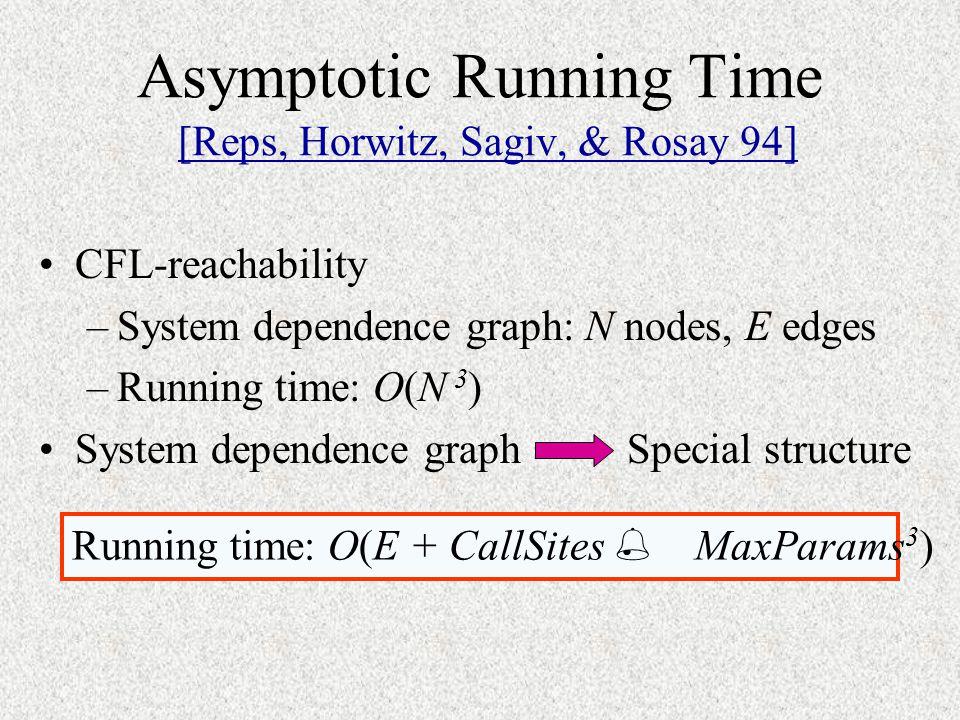 Asymptotic Running Time [Reps, Horwitz, Sagiv, & Rosay 94]